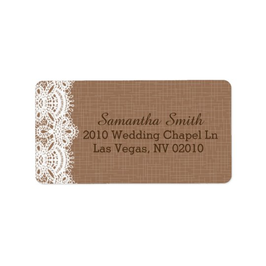 Rustic Lace Burlap Wedding Labels