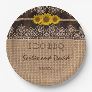 Rustic Lace Burlap Wood I DO BBQ Paper Plate