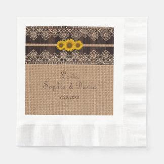 Rustic Lace Burlap Wood Wedding Paper Serviettes