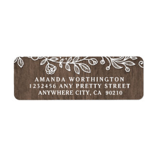 Rustic Lace Country Wood Wedding Address Labels