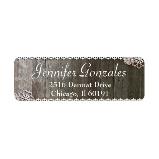 Rustic Lace & Flowers Modern Address Label