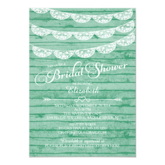 "Rustic Lace & Green Wood Bridal Shower Invitation 5"" X 7"" Invitation Card"