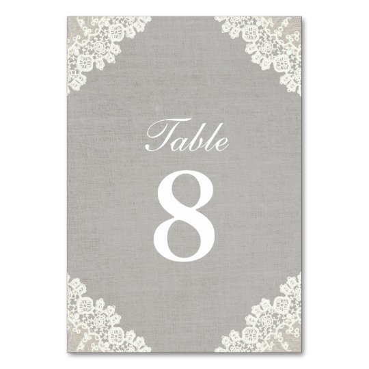 Rustic Lace & Grey Linen Vintage Table Numbers