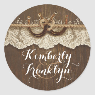 Rustic Lace Horseshoes Country Brown Wedding Round Sticker