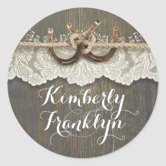 Rustic Lace Horseshoes Country Wedding Round Sticker