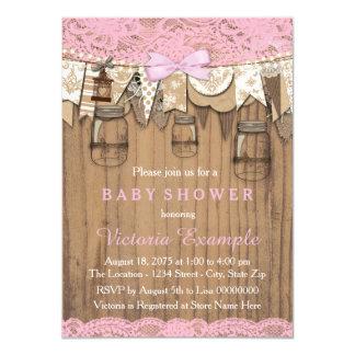 Rustic Lace Mason Jar Baby Shower 11 Cm X 16 Cm Invitation Card
