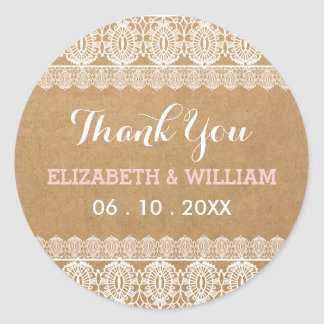 Rustic Lace & Paper Wedding Thank You Pink Classic Round Sticker