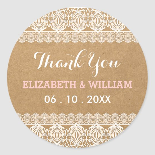 Rustic Lace & Paper Wedding Thank You Pink