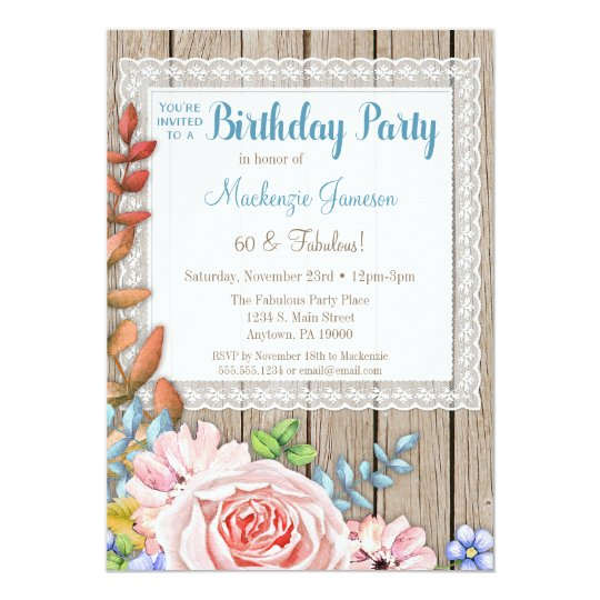 Rustic Lace Pink Rose Bouquet Birthday Invitation