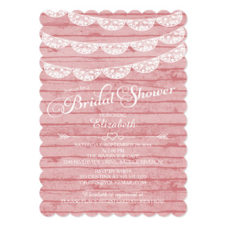 "Rustic Lace & Pink Wood Bridal Shower Invitation 5"" X 7"" Invitation Card"