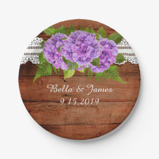 Rustic Lace Purple Hydrangea Wedding Paper Plate 7 Inch Paper Plate