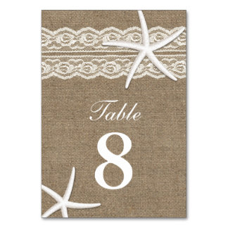 Rustic Lace & Starfish Burlap Table Numbers