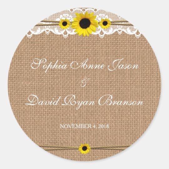 Rustic Lace, Sun Flowers, Burlap Wedding Custom Classic