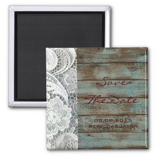 rustic lace teal barn wood wedding save the date magnet