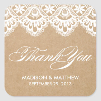 RUSTIC LACE WEDDING FAVOR LABELS SQUARE STICKER