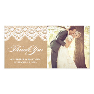 RUSTIC LACE WEDDING THANK YOU PHOTO CARD