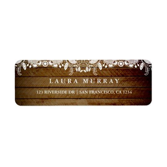 Rustic Lace Wood Address Label