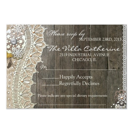 Rustic Lace Wood Floral  Wedding Reception RSVP Card