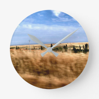 Rustic landscape from a car wallclocks