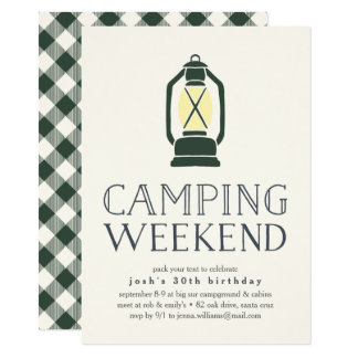Rustic Lantern Camping Weekend Invitation