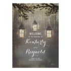Rustic Lantern Lights Wedding Welcome Sign