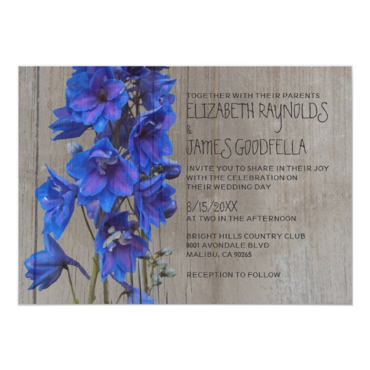 Rustic Larkspur Wedding Invitations