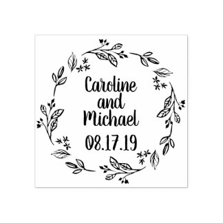 Rustic Laurel Country Wreath | Wedding Rubber Stamp