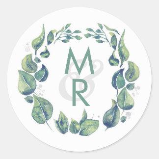 Rustic Laurel Wreath Watercolor Wedding Round Sticker