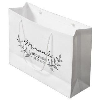 Rustic Laurels Personalized Bridesmaids Large Gift Bag