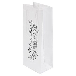 Rustic Laurels Personalized Bridesmaids Wine Gift Bag