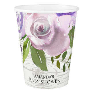 Rustic Lavender Flowers Baby Shower Paper Cup