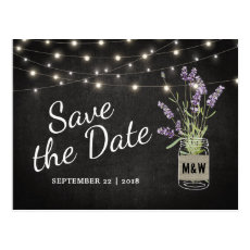 Rustic Lavender Mason Jar Lights Save the Date