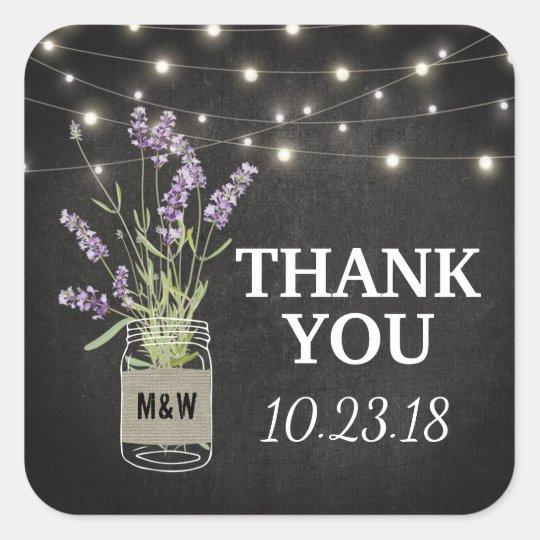 Rustic Lavender Mason Jar Lights Wedding Square Sticker