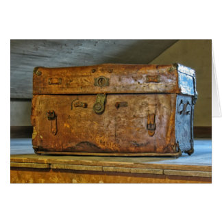 Rustic Leather Trunk in Attic Greeting Card