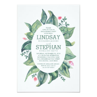 Rustic Leaves Laurel Watercolor Engagement Party Card