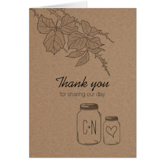 Rustic Leaves Mason Jar Heart Thank You Card