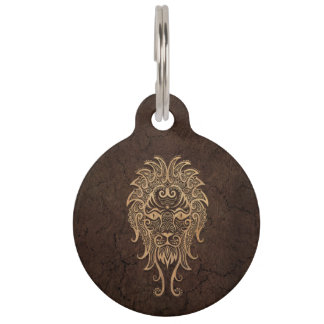 Rustic Leo Zodiac Sign on Stone Effect Pet Name Tag