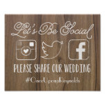 Rustic Let's Be Social | Wedding Hashtag Sign