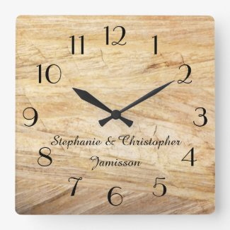 Rustic Light Brown Faux Stone Clock Personalised