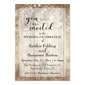 Rustic Light Brown Wood w/ Light Strings, Wedding Card