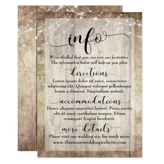 Rustic Light Brown Wood w/ Lights, Wedding Info