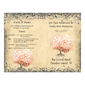 "Rustic Light Coral Heart Leaf Tree Wedding Program 8.5"" X 11"" Flyer"