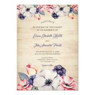 Rustic Light Wood Summer Blueberry Blossom Wedding Card