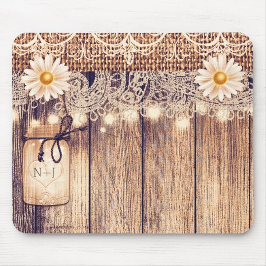 Rustic Lighted Mason Jars Daisies & Lace Computer Mouse Mat