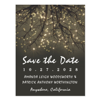 Rustic Lighted Tree Branch Save The Date Cards