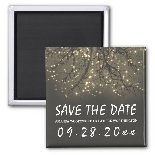 Rustic Lighted Tree Branch Wedding Save the Date