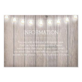 Rustic Lights Information Card 9 Cm X 13 Cm Invitation Card