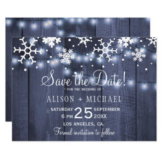 Rustic lights snowflakes winter wedding save date card