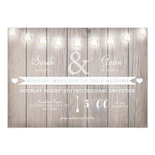 Rustic Lights Wedding Invitation-customisable text Card