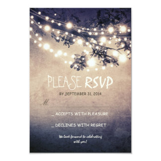 Rustic lights wedding RSVP cards